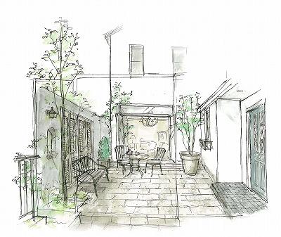 パリのアパルトマンの様に、中庭を通ってエントランスへと導かれます。